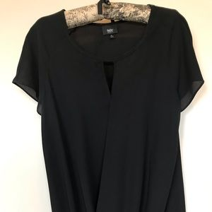 Sheer Black blouse with cross over detail.